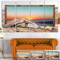 Framed Blurred Beach - Seashore  Art Canvas Print