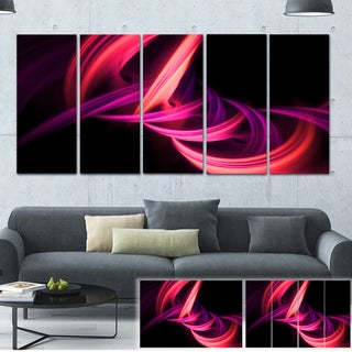 Fractal Purple Connected Stripes - Abstract  Art Canvas Print