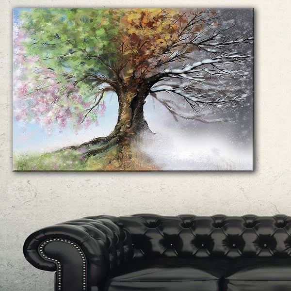 Tree With Four Seasons Tree Painting Canvas Art Print