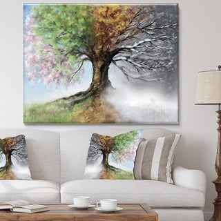 Link to Tree with Four Seasons - Tree Painting Canvas Art Print Similar Items in Canvas Art