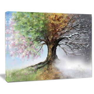 Tree with Four Seasons - Tree Painting Canvas Art Print (4 options available)
