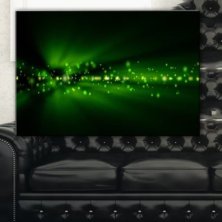 Blurred Bright Green Lights - Landscape Photo Canvas Art Print