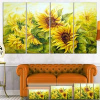 Bright Yellow Sunny Sunflowers - Floral Painting Canvas Print