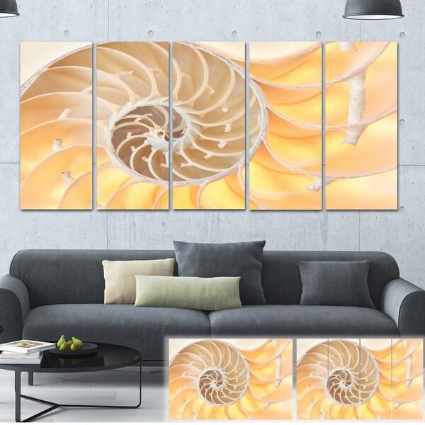 Golden Nautilus Shell Pattern - Abstract Art Canvas Print
