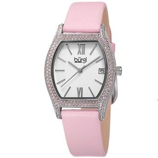 Burgi Women's Quartz Swarovski Crystal Leather Pink Strap Watch
