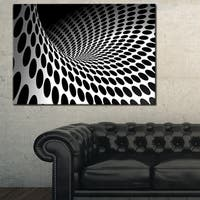Waves and Circles Black n' White - Abstract  Art Canvas Print