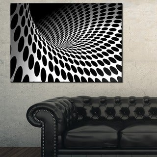 Waves and Circles Black n' White - Abstract  Art Canvas Print