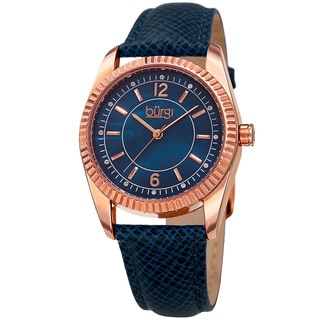 Burgi Women's Quartz Crystal Easy-to-Read Blue Leather Strap Watch