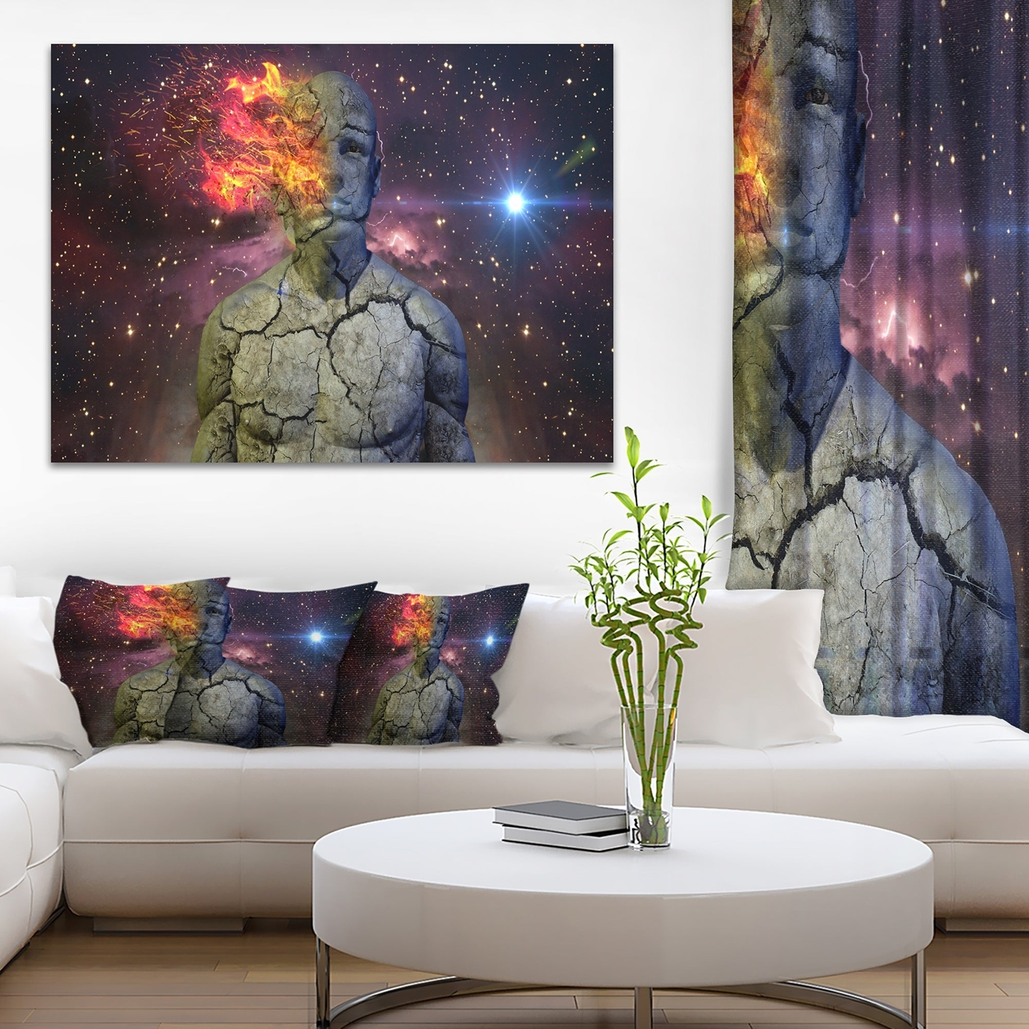 Broken Human Body With Fire Abstract Art Canvas Print Overstock 12117467