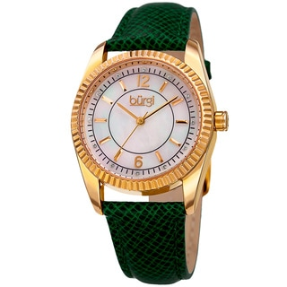 Burgi Women's Quartz Crystal Easy-to-Read Green Leather Strap Watch