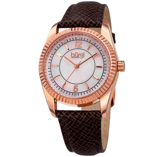 Burgi Women's Quartz Crystal Easy-to-Read Brown Leather Strap Watch