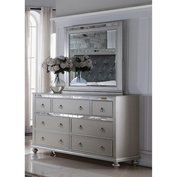 Bedroom Dressers With Mirrors: Shop LYKE Home Nevaeh Silver Dresser-Mirror Combo