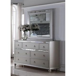 LYKE Home Nevaeh Silver Dresser-Mirror Combo