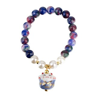 Emitations Toddler Girl Lucky Cat Blue Beaded Stretch Bracelet