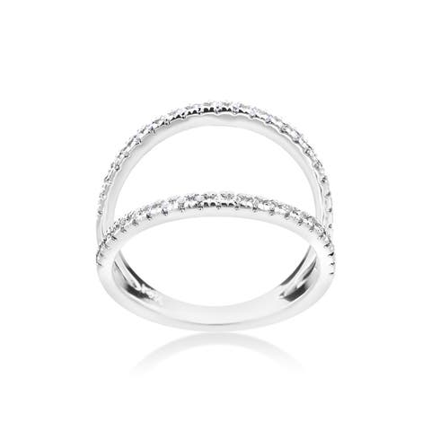 SummerRose 14k White Gold 1/4ct TDW Contemporary Split Shank Diamond Ring