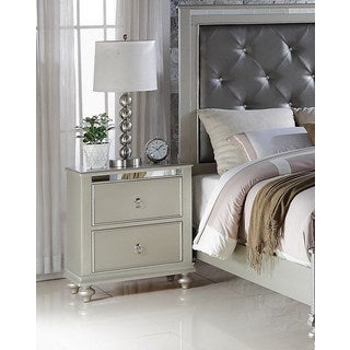 LYKE Home Nevaeh Silver Nightstand