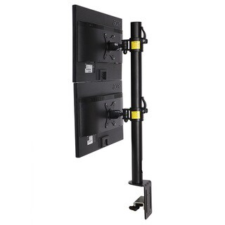 Fleximounts D1DV Full Motion Vertical Dual Desk Mounts Black Stand for 2 Screens up to 27-inch LCD Monitor
