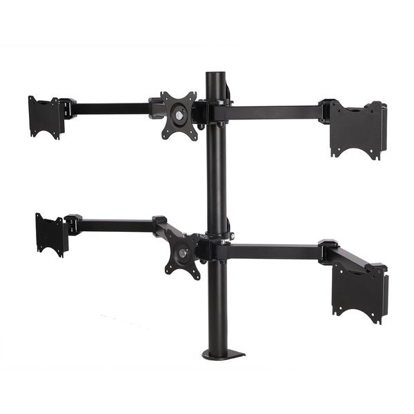Full Motion 6-arm Desk Mount Black Stand for 10-inch to 24-inch LCD Computer Monitor - FLEXIMOUNTS D1S