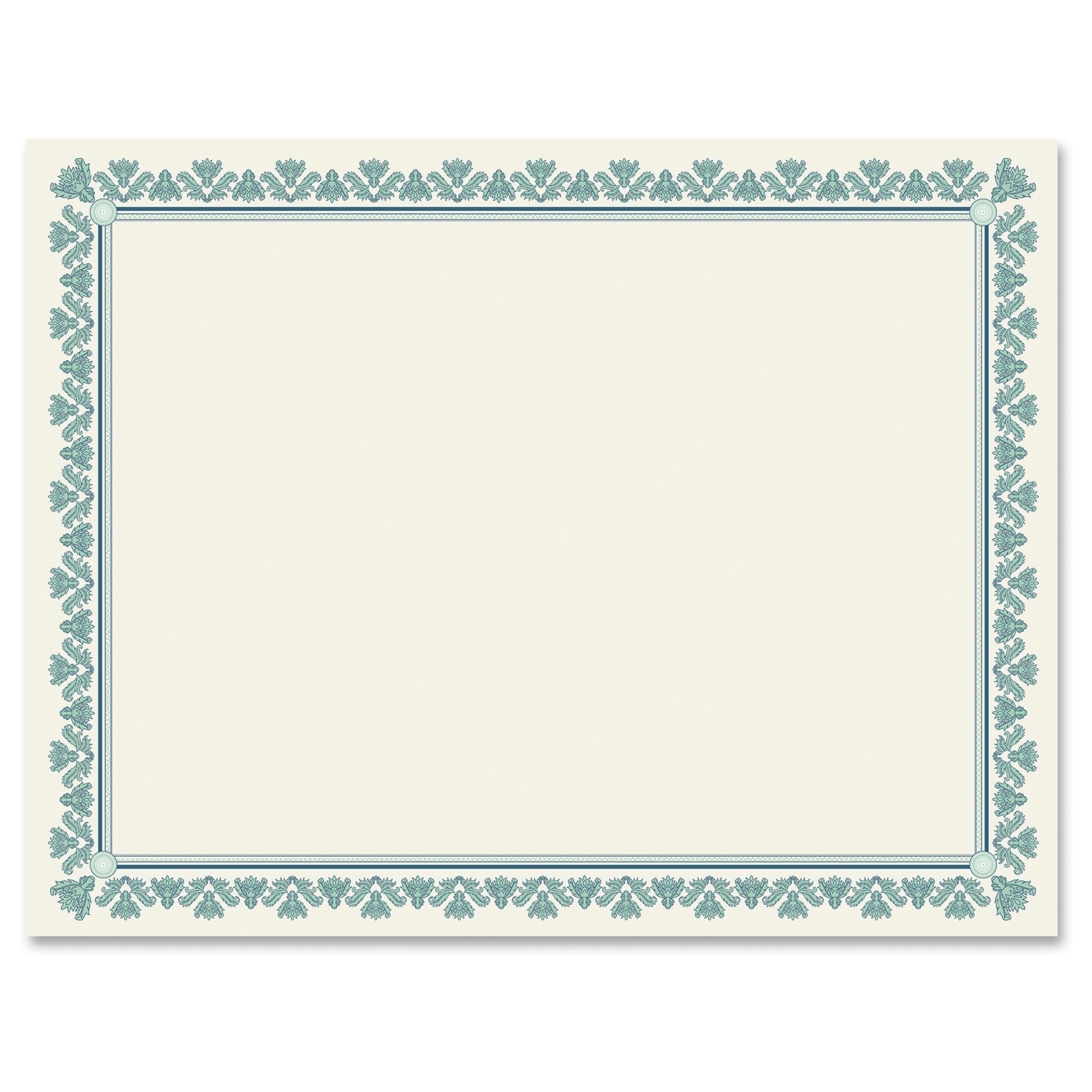 Geographics Fleur Border Blank Certificates - Aquamarine ...
