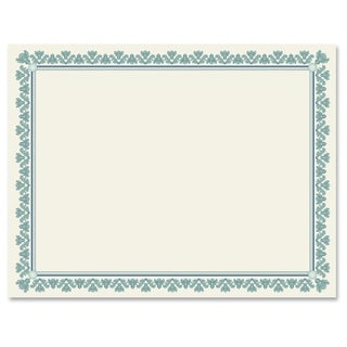 Geographics Fleur Border Blank Certificates - Aquamarine (25/Pack)