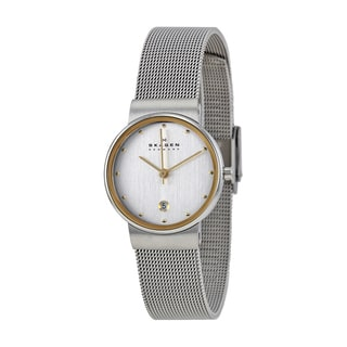Skagen Women's 355SGSC Silvertone Mineral and Stainless Steel Mesh Watch