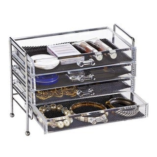 Simplify 4-drawer Chest Jewelry and Cosmetic Organizer with Stand