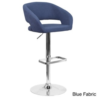 Porch & Den Stonehurst Eldridge Chrome Base Adjustable Height Bar Stool (Option: Blue Fabric)