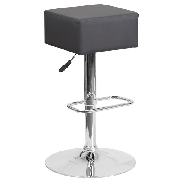 Contemporary Vinyl Adjustable Height Barstool With Chrome