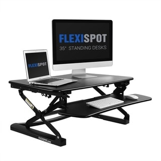 FlexiSpot M2B Black 35-inch Height-adjustable Standing Desk Riser With Removable Keyboard Tray