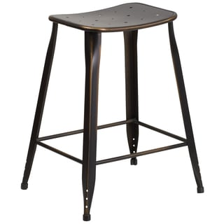 24-inch High Distressed Copper Metal Indoor-Outdoor Counter Height Stool