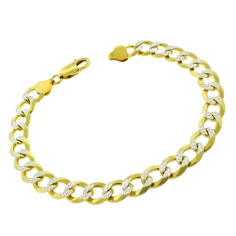 """Authentic 14K Gold Italian Solid Sterling Silver 8.5mm Cuban Curb Link Diamond-Cut .925 ITProLux Two-Tone Yellow Bracelet 9"""""""