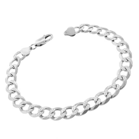 """Authentic Solid Sterling Silver 8.5mm Cuban Curb Link Diamond-Cut Pave .925 ITProLux Bracelet Chain 9"""", Made In Italy"""