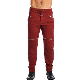 Indigo People Men's Burgundy Cotton/Polyester 4-zip Joggers