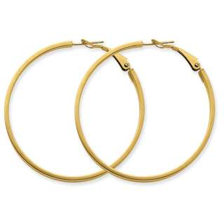 Versil 14k Yellow Gold Polished Round Hoop Earrings