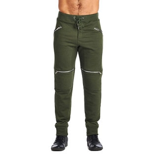 Indigo People Men's Olive Cotton/Polyester 4-zip Joggers