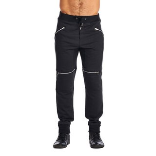 Indigo People Men's Black Cotton/Polyester 4-zip Joggers