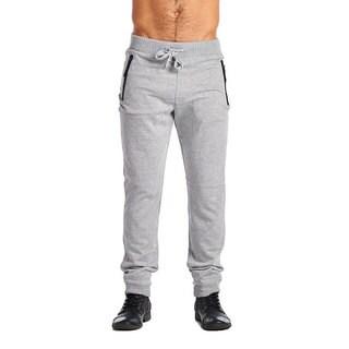 Indigo People Men's Olive Cotton/Polyester 2-zip Joggers