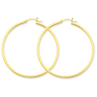Versil 14k Yellow Gold 2mm Square Tube Hoop Earrings