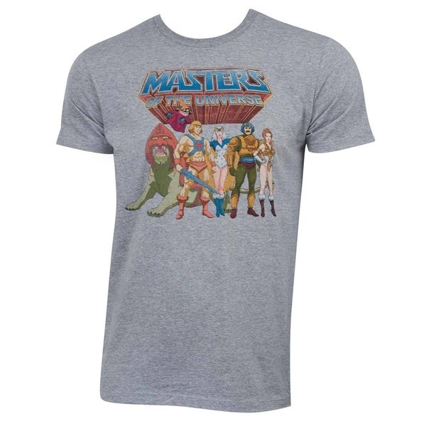 He-Man 'Masters Of The Universe' Grey Cotton and Polyester Characters Logo  T-shirt