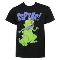 Nicktoons Rugrats Men's Black Cotton Reptar T-shirt
