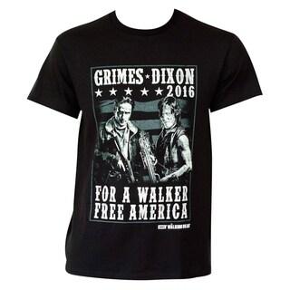 Men's 'The Walking Dead' Grimes Dixon 2016 Black Cotton/Polyester T-shirt