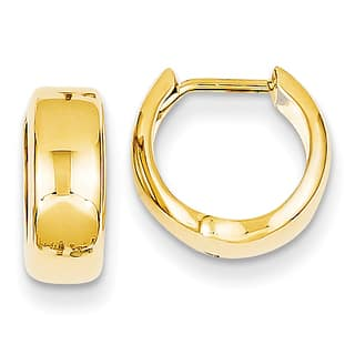 14K Yellow Gold Polished Round Hinged Hoop Earrings by Versil
