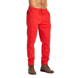 OTB Men's Red Cotton and Polyester Active Wear Pants