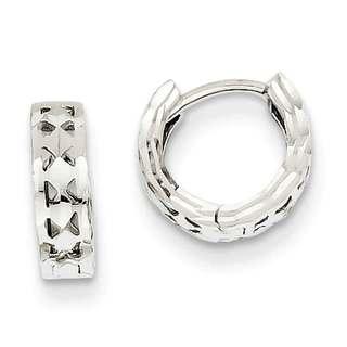 Versil 14k White Gold Diamond-cut Hinged Hoop Earrings