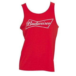Budweiser Men's Red Cotton Graphic Tank Top