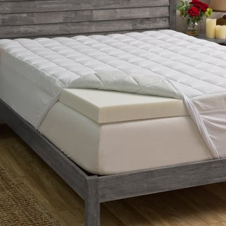 Grande Hotel Collection 3-inch Memory Foam and 1.5-inch Fiber Mattress Topper Queen Size(As Is Item)