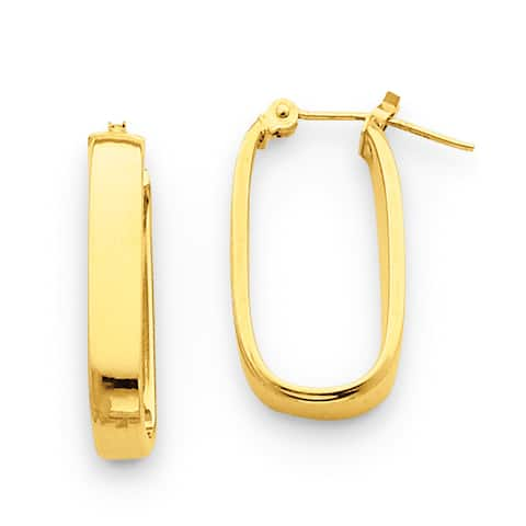 14K Yellow Gold Polished 3.5mm Oval Hinged Hoop Earrings by Versil