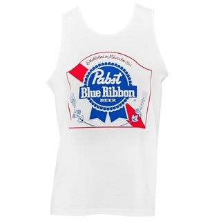 Men's Pabst Blue Ribbon White Cotton Tank Top