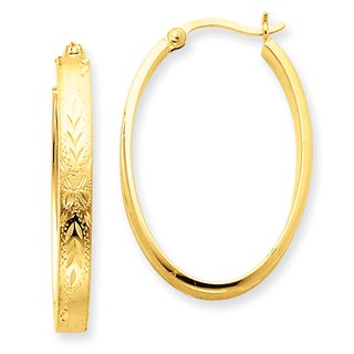 Versil 14k Yellow Gold Satin and Diamond-Cut Oval Hoop Earrings