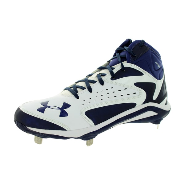 7a12a2bf7 Under Armour Men  x27 s Yard Mid St White Midnight Navy Baseball Cleat